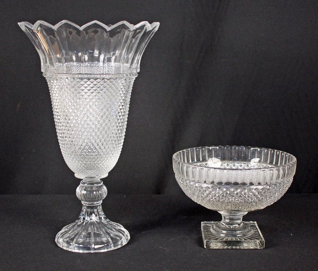 Shannon Leaded Crystal Tiara Vase and Center Bowl