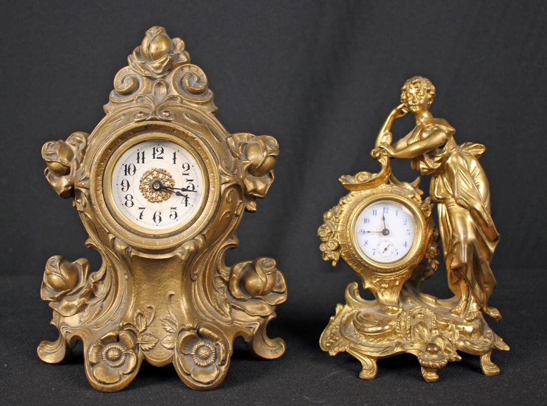 Two Cast Metal Circa 1900 Decorative Clocks