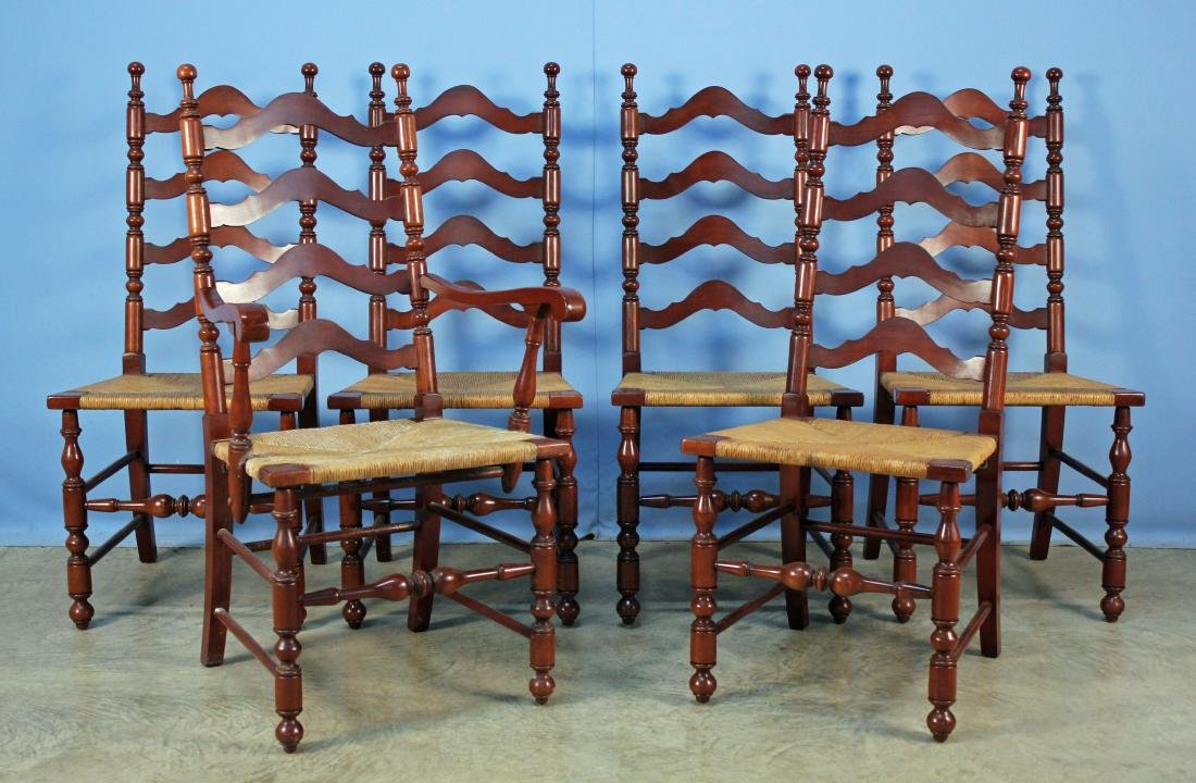 Six Willett Solid Cherry Ladderback Dining Chairs
