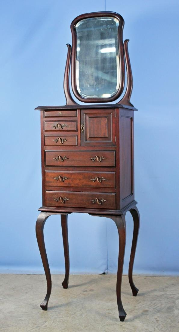 Mahogany Shaving Stand w/ Mirror & Drawers C. 1900