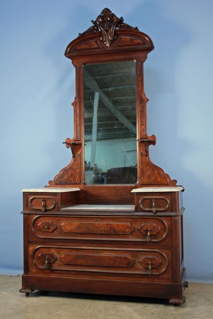 Victorian Walnut Marble Top Drop Center Dresser