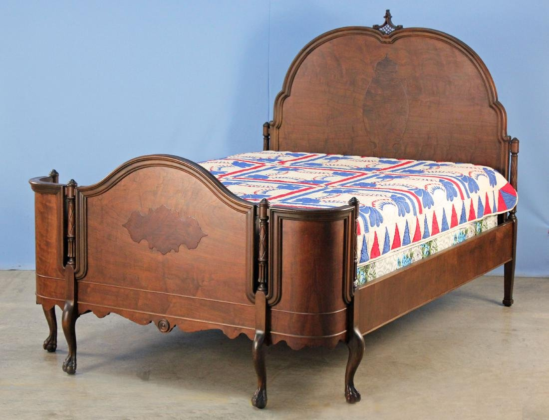 C. 1930 Walnut Full Size Bed w/ Curved Footboard