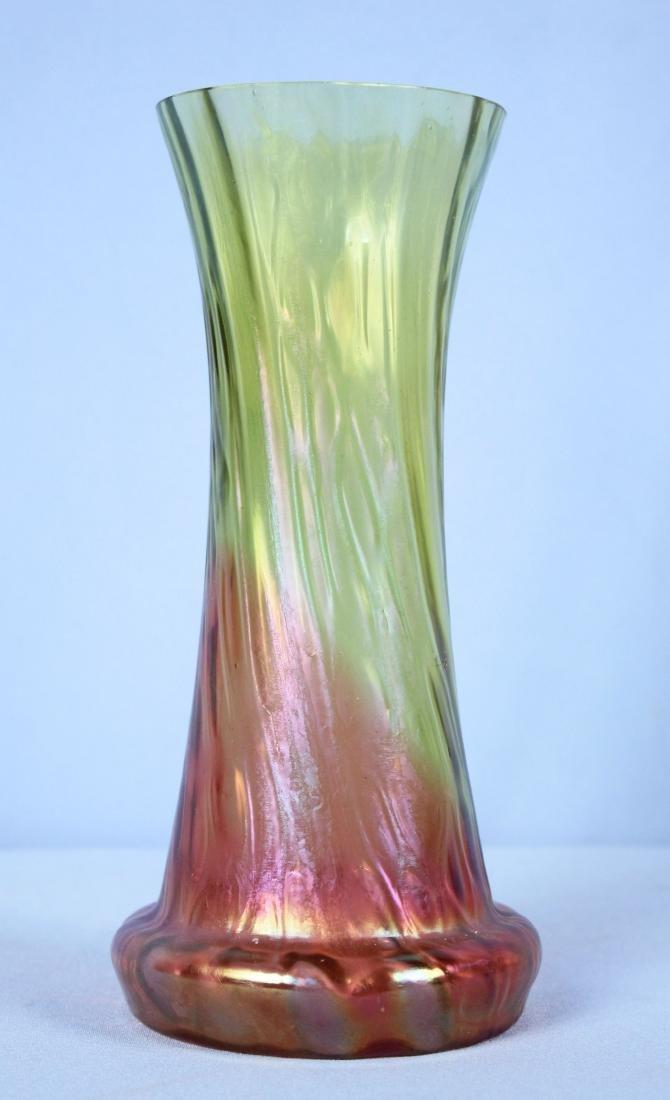 Kralik Cranberry Emerald Iridescent Honeycomb Vase