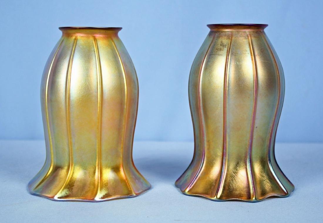 Pair Quezal Aurene Iridescent 10 Panel Lamp Shades