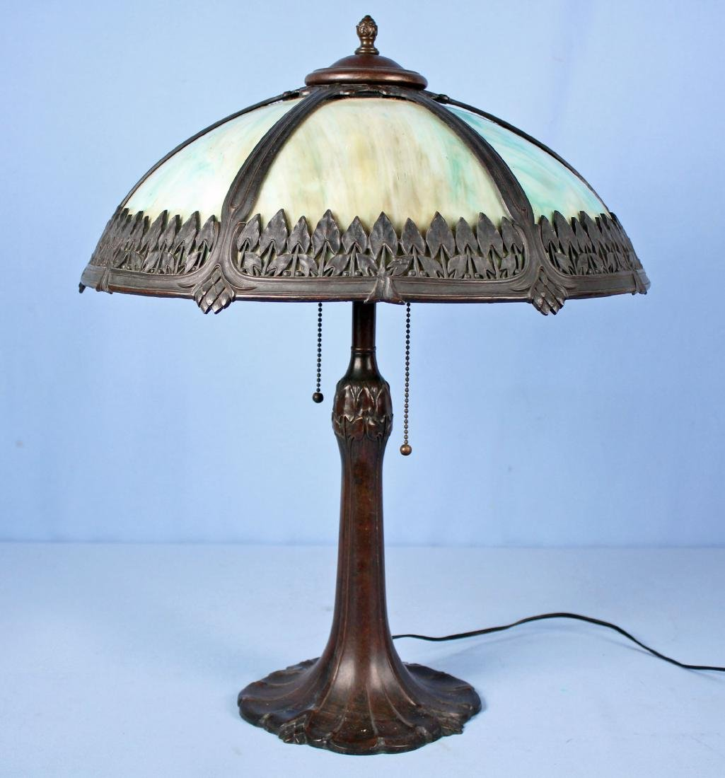 Pittsburgh Arrowhead Lamp with Slag Glass Panels