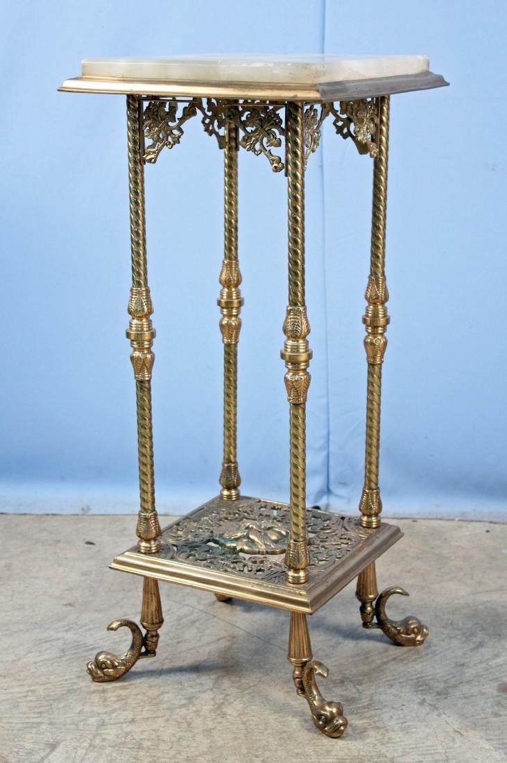 Brass & Onyx Victorian Pedestal w/ North Wind Mask