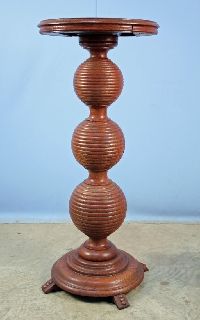 Circa 1900 Oak Reeded Ball Pedestal