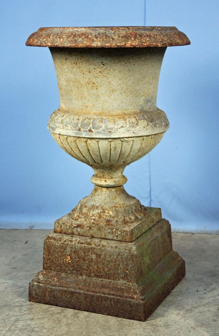 Mid-19th C. 2 Part Cast Iron Garden Urn
