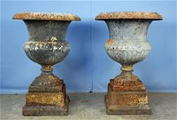 Pair Antebellum Cast Iron 2 part Garden Urns