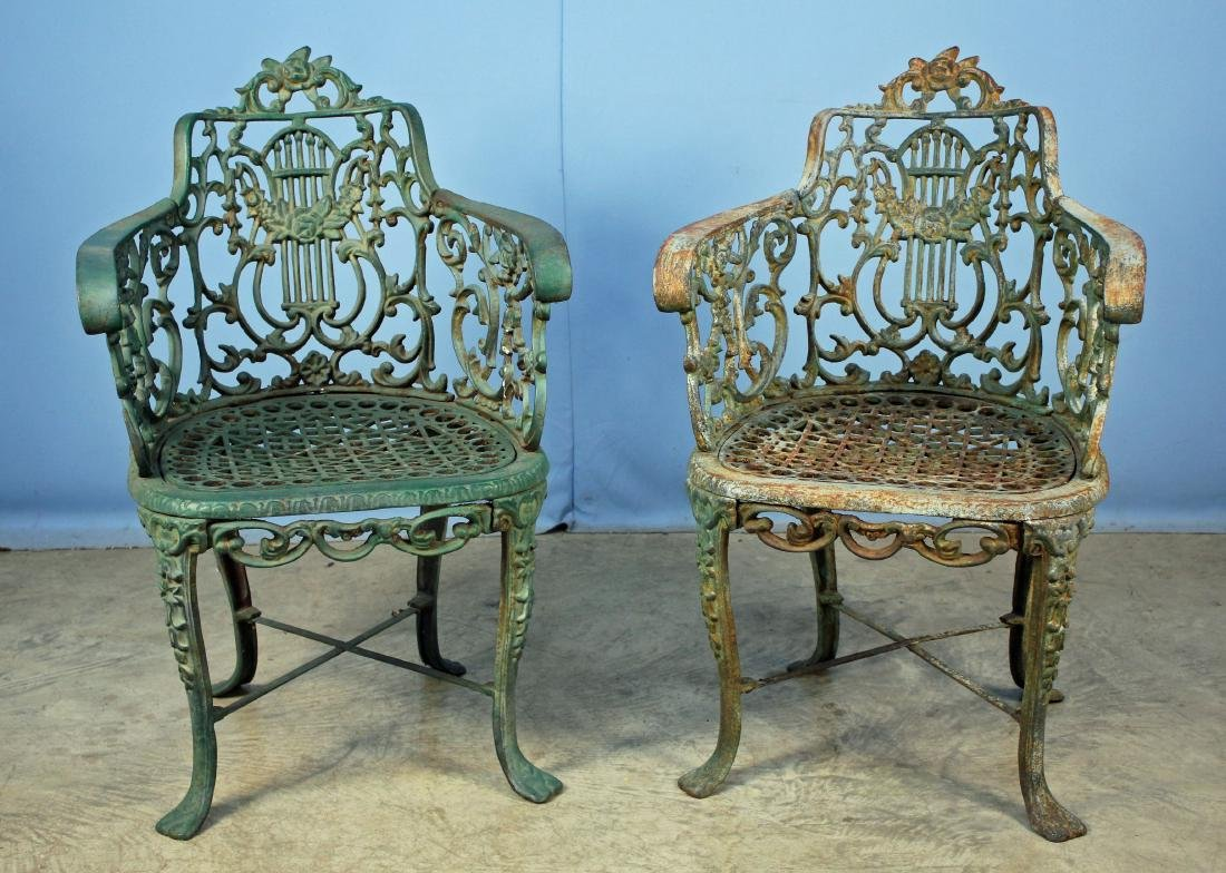 Pair Early 20th C. Cast Iron Garden Arm Chairs