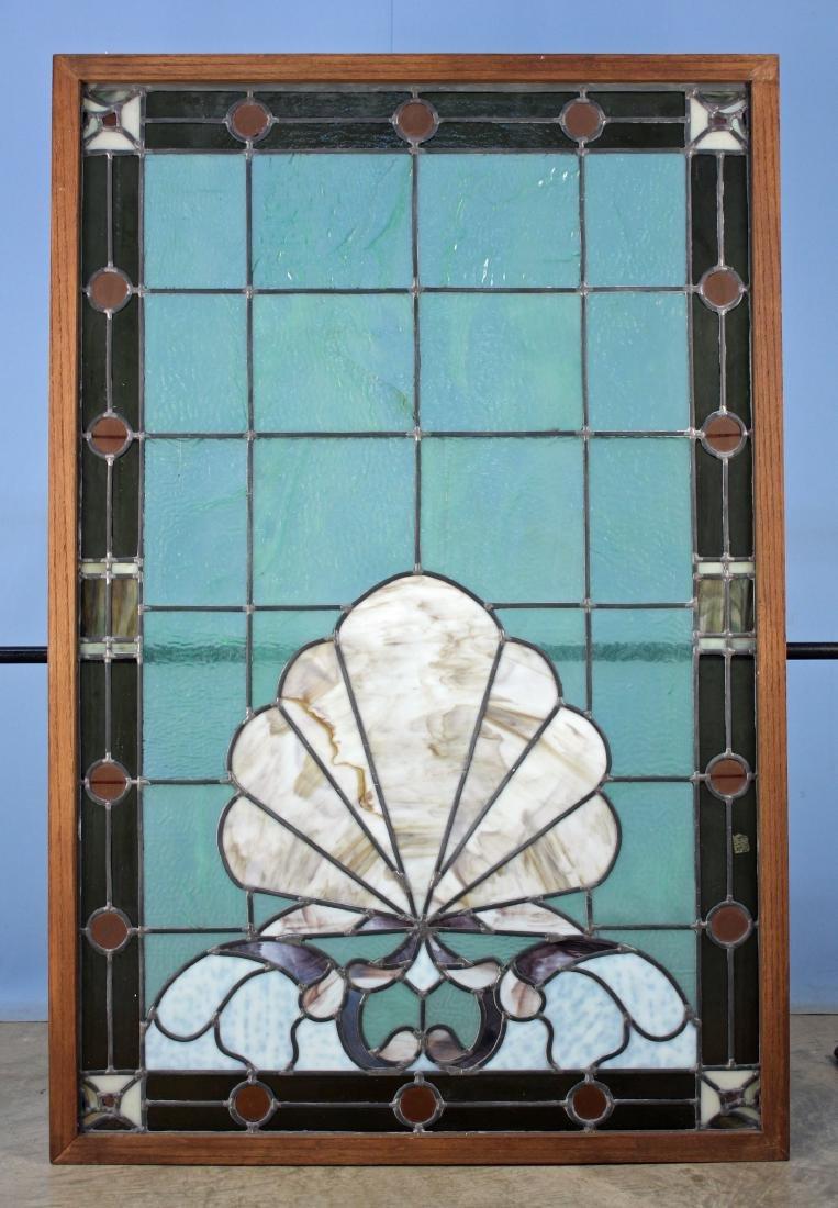Oak Framed Slag Glass & Green Stain Glass Window