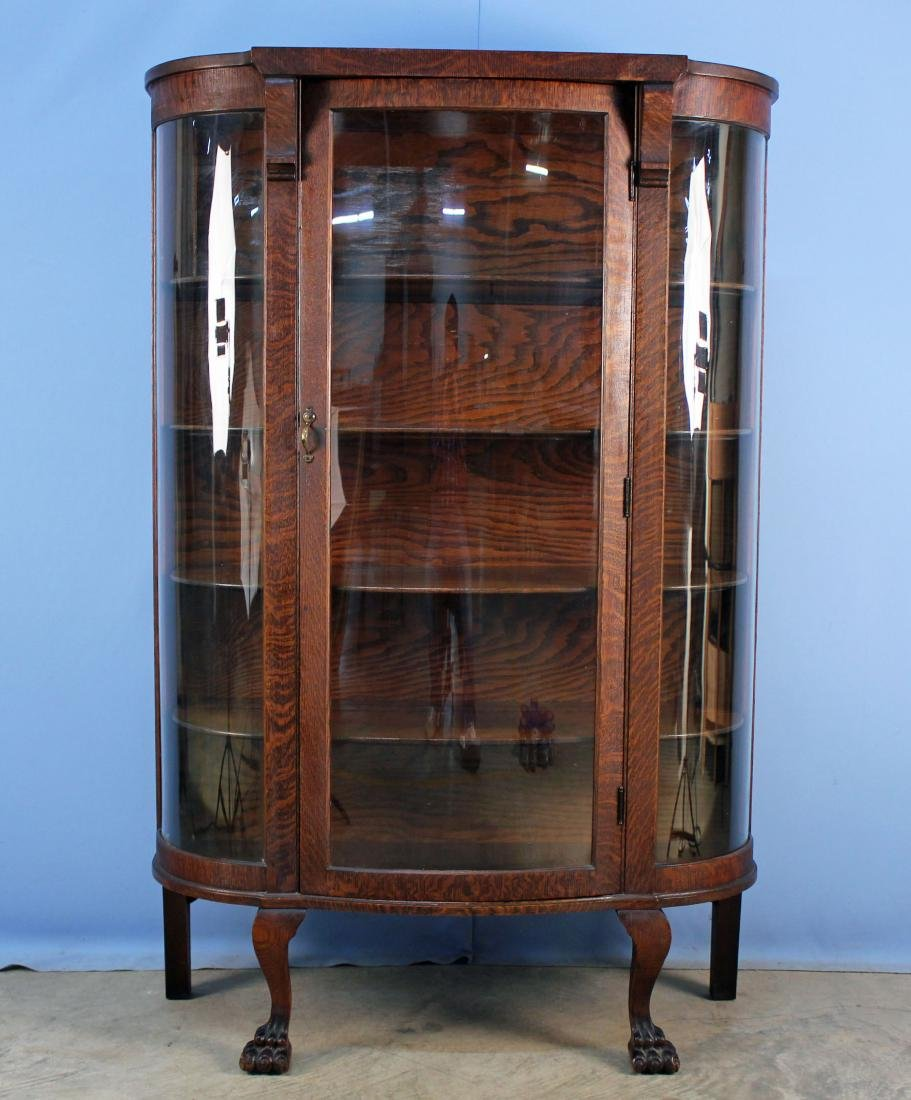 Oak Claw Footed China Cabinet C. 1900