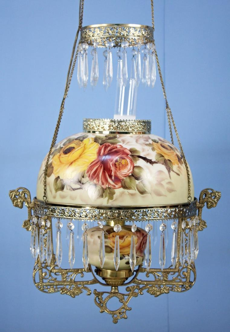 Victorian Style Hanging Light w/ Rose Decoration