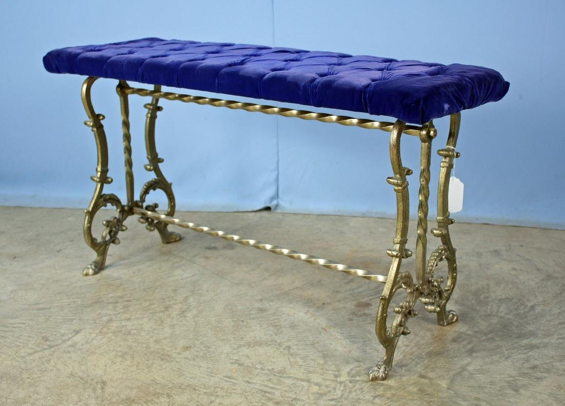 Brass Plated Claw Footed Bench w/ Tufted Blue Seat