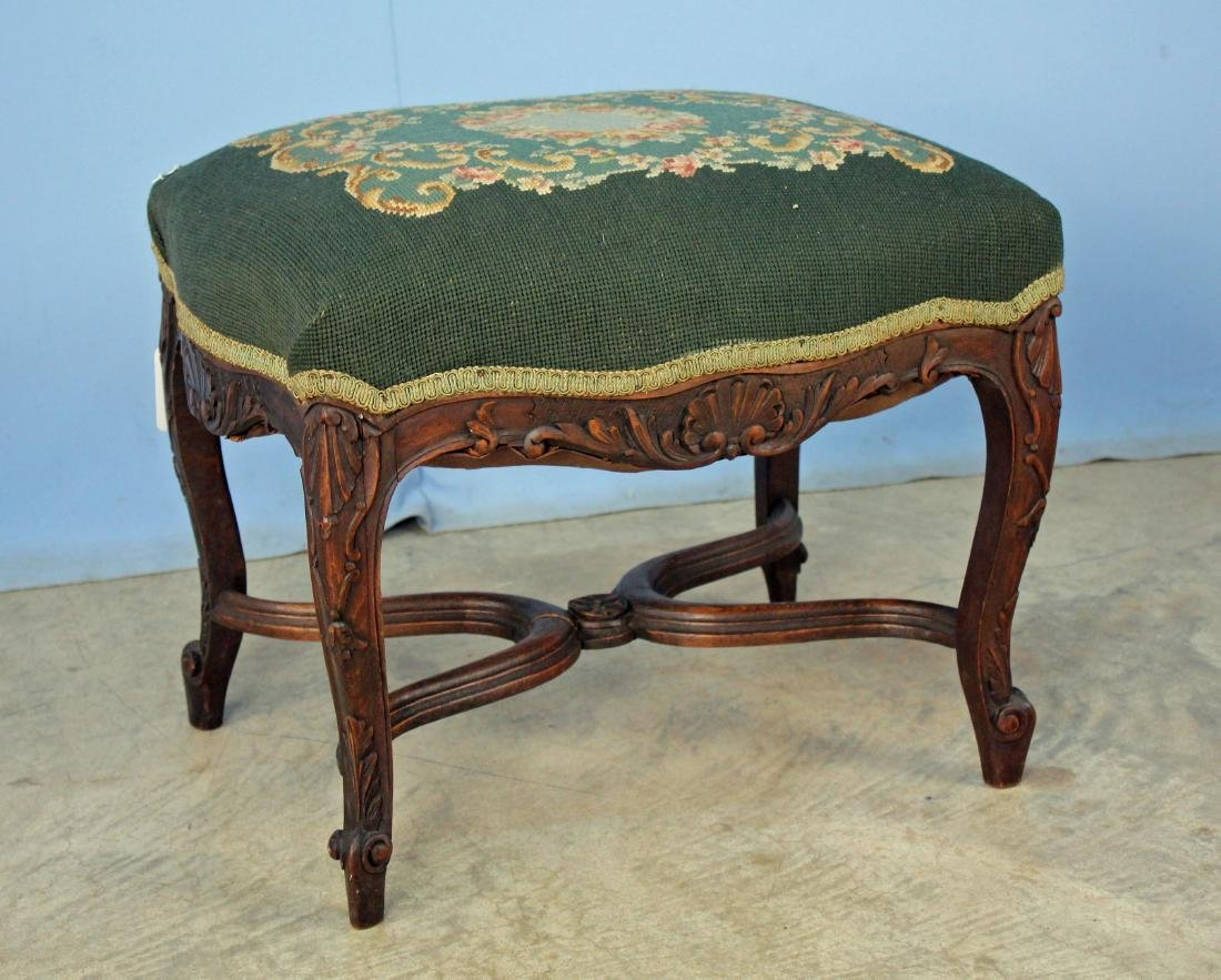 French Style Footstool w/ Green Needlepoint Cover