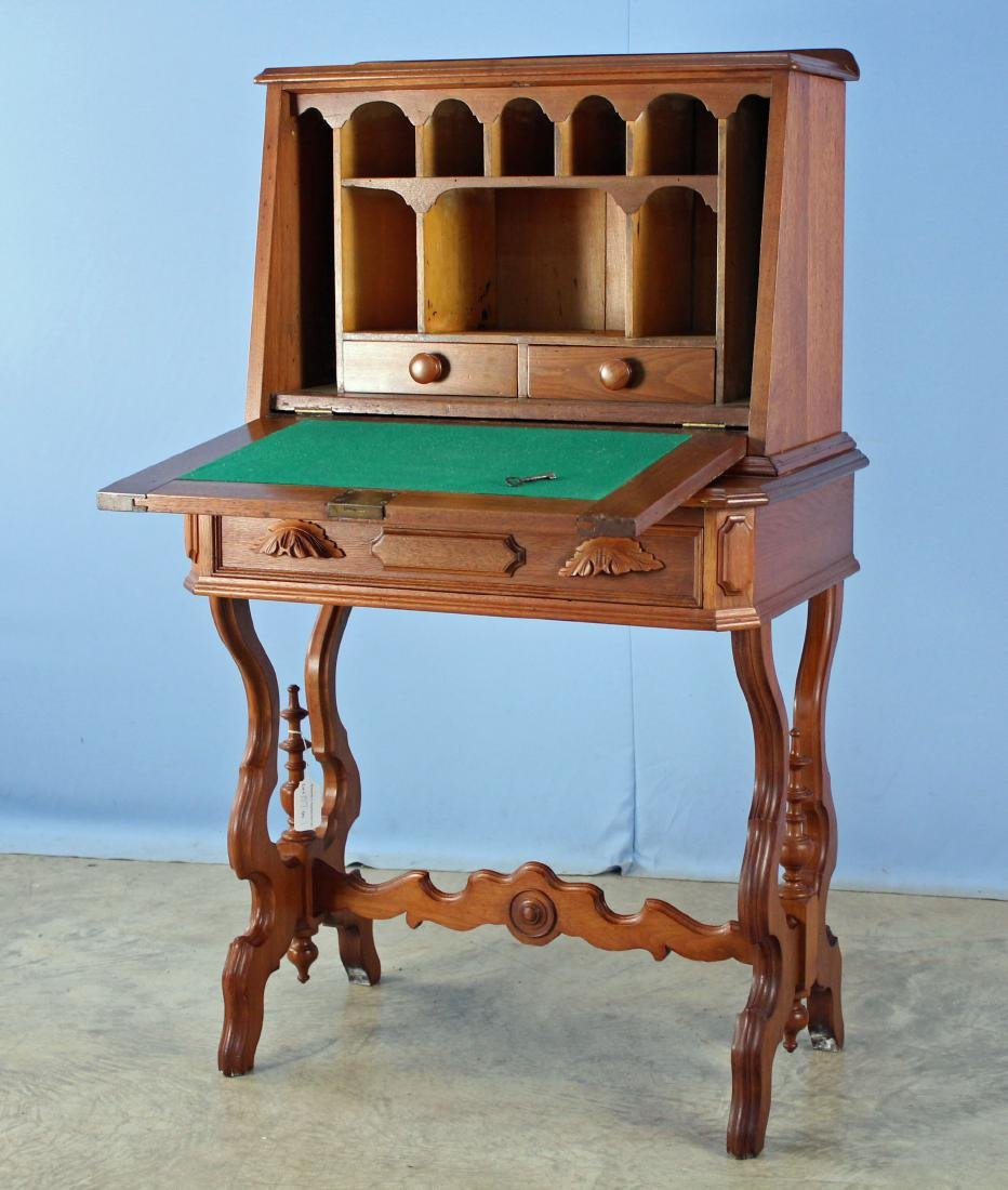 19th Century Walnut Drop Front Desk