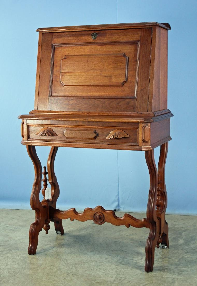 19th Century Walnut Drop Front Desk - 2