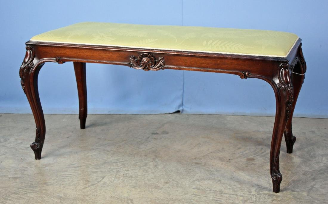 Louis XV Style Mahogany Bench W/ Green Fern Cover