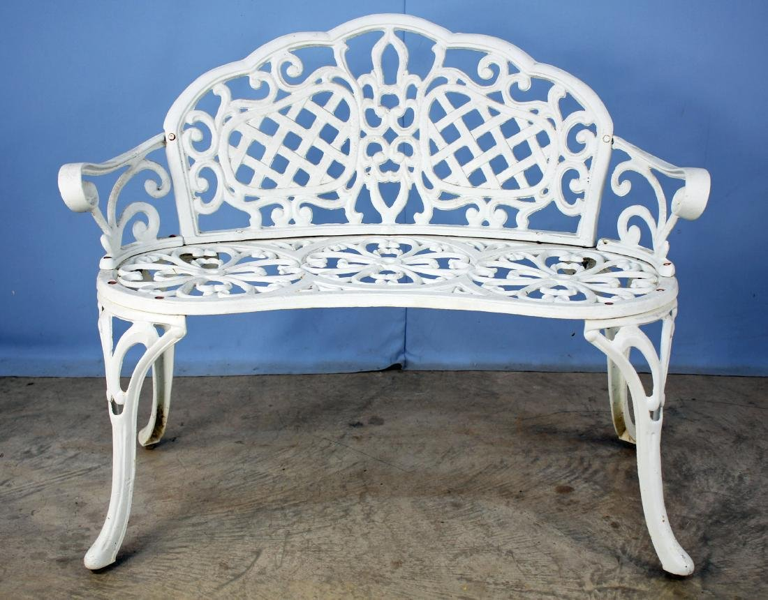 White Wrought Iron Garden Bench W/ Basket Weave