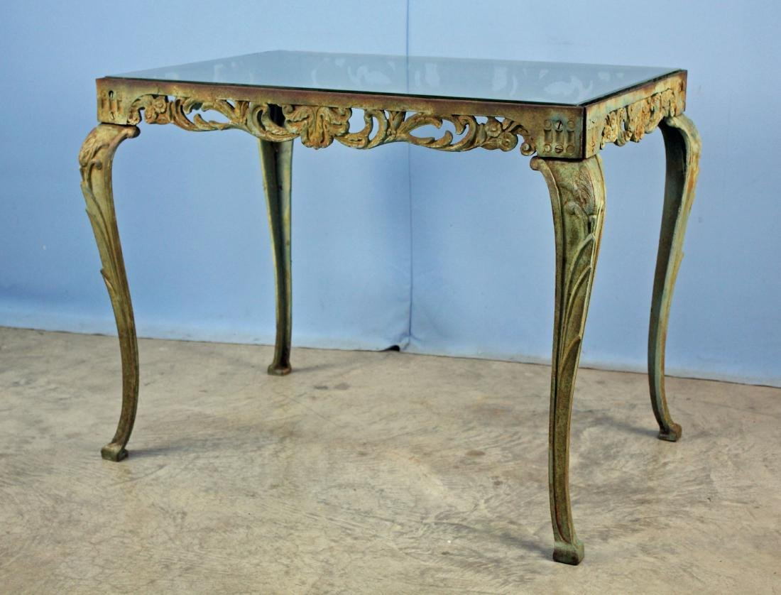 Cast Iron Garden Table W/ Plate Glass Top