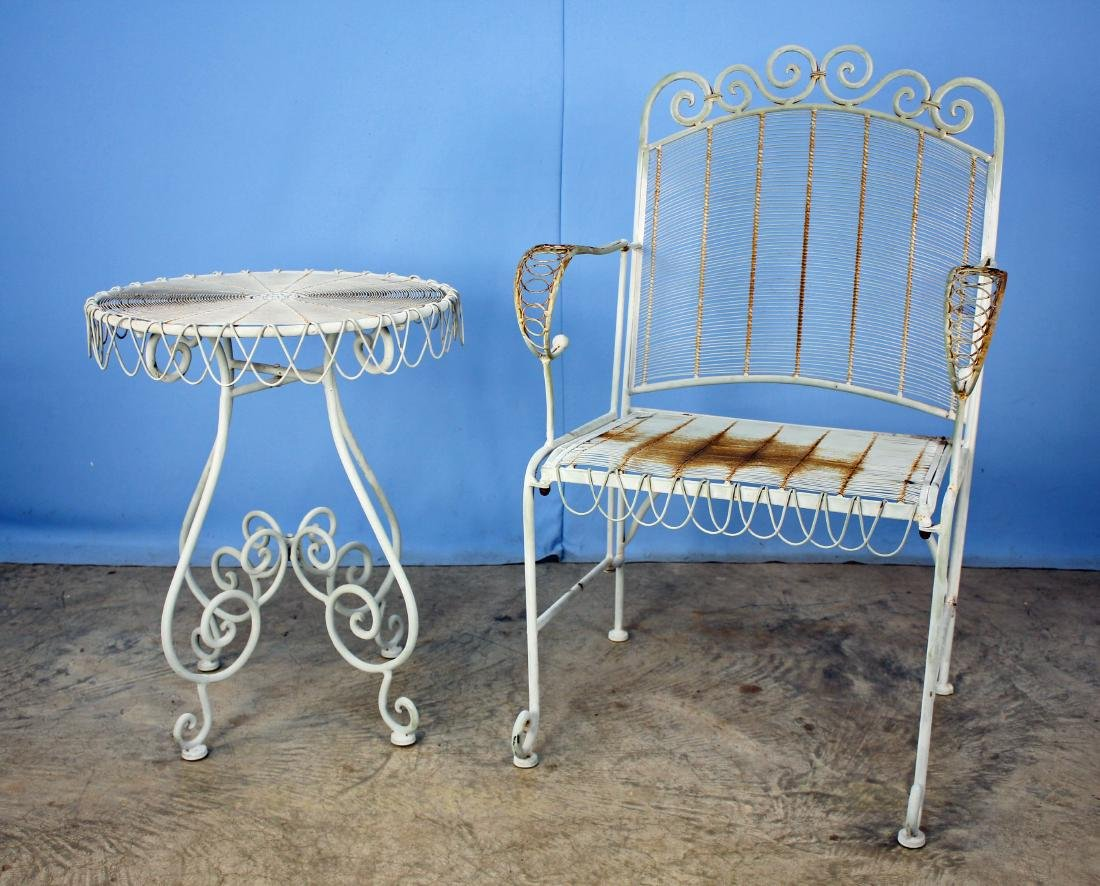 Iron & Heavy Wire Garden Arm Chair & Table