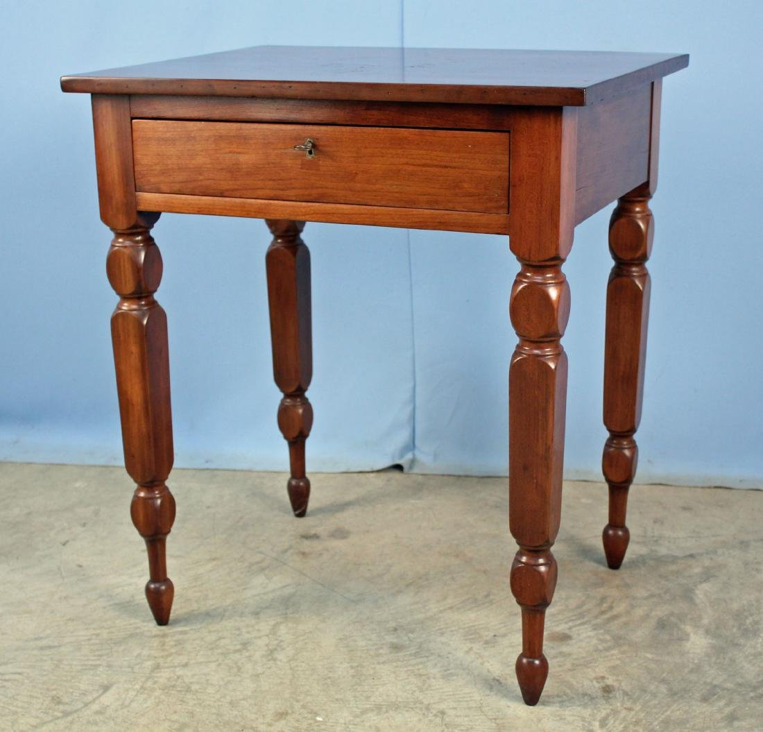 19th C. Work Table W/ Drawer & Turned Legs