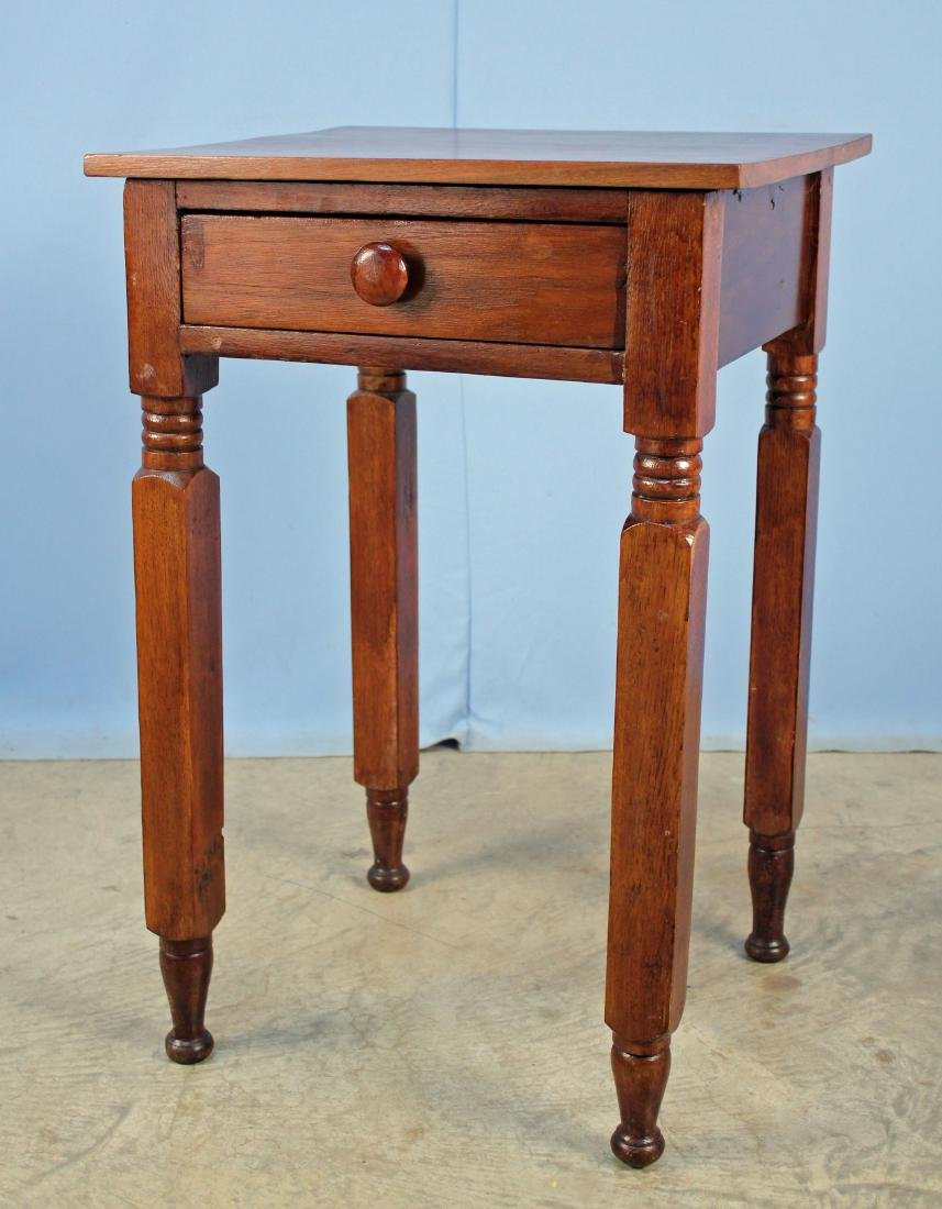 19th C. Walnut Work Table W/ Drawer & Turned Legs
