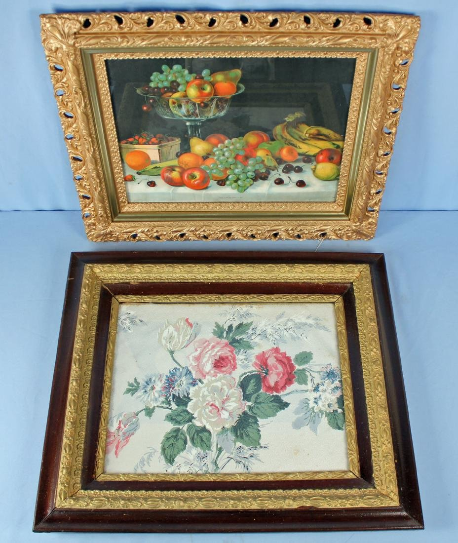 Two Antique Picture Frames, Still Life & Roses
