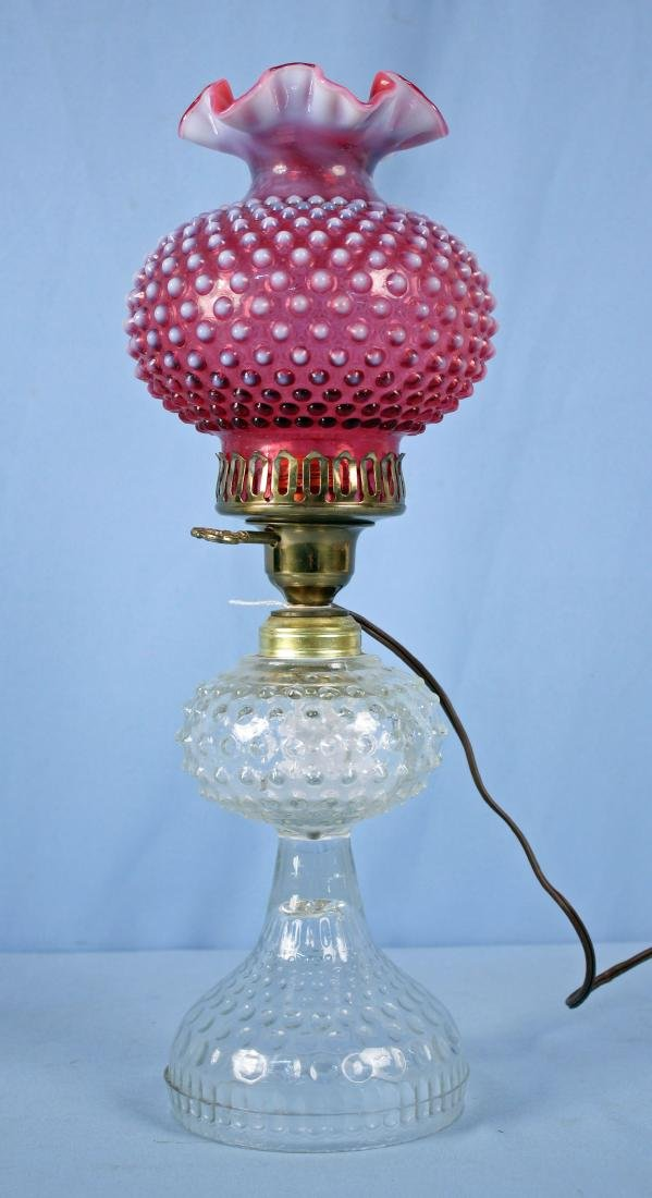 Electric Oil Lamp W/ Hobnail Cranberry Shade