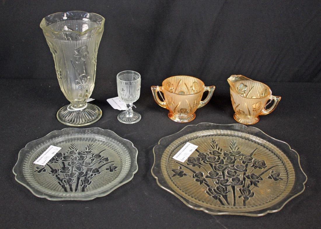 6 Pcs. Jeannette Iris & Herringbone Glassware