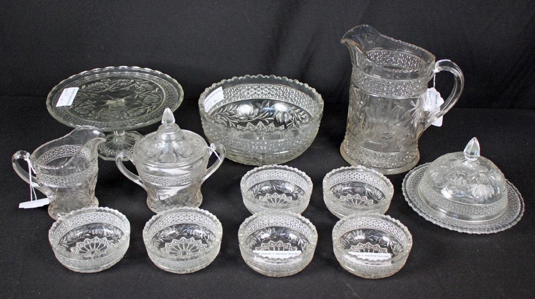 12 Pcs Early American Pressed Glass