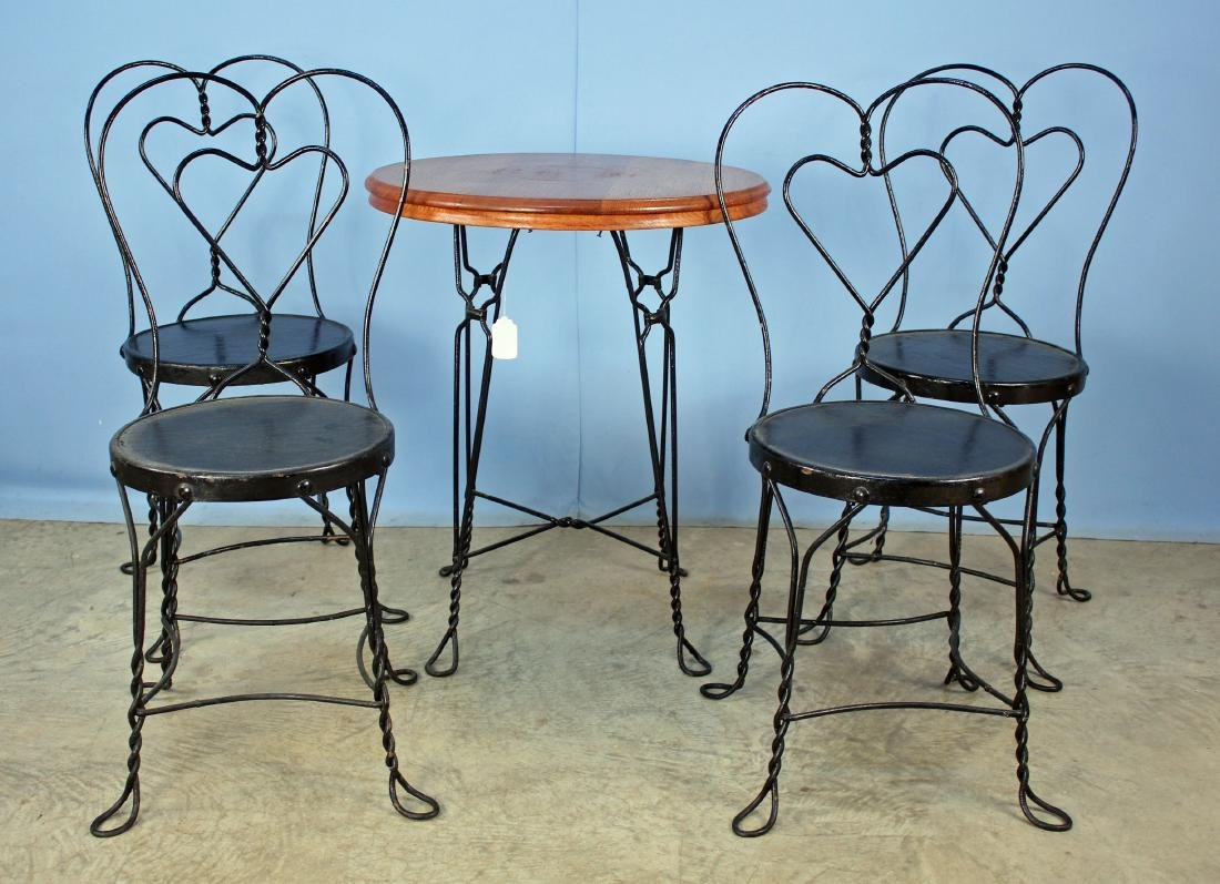 Soda Fountain Table & 4 Heart Back Chairs C. 1910