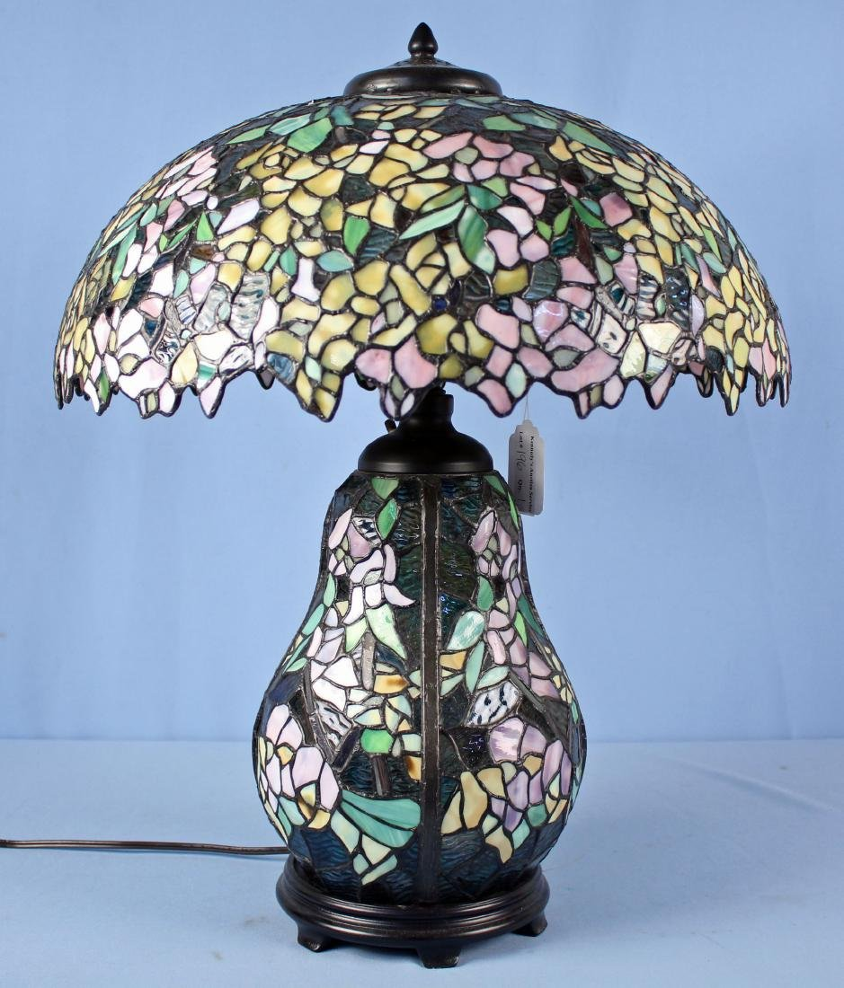 Tiffany Style Lamp W/ Lavender & Yellow Flowers