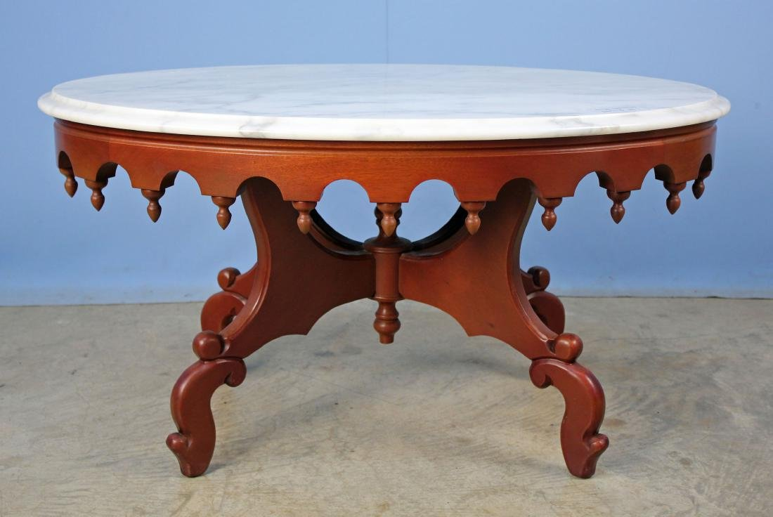 Mahogany Marble Top Coffee Top Table C. 1950's