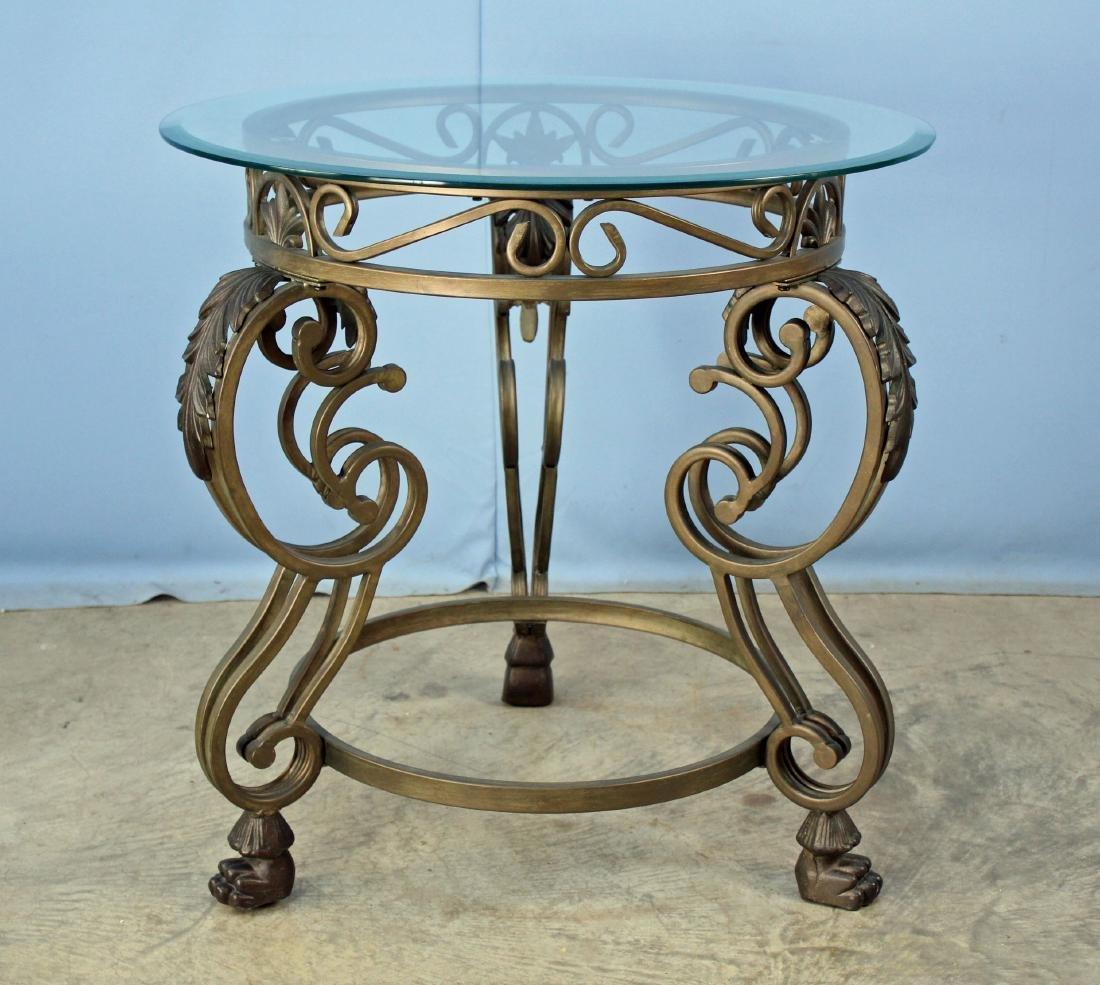 Round Metal Garden Table W/ Claw Feet