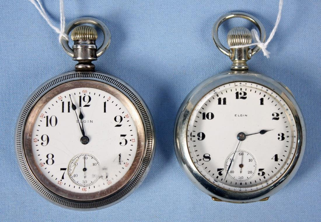 Two Elgin Pocket Watches W/ Silverode Cases