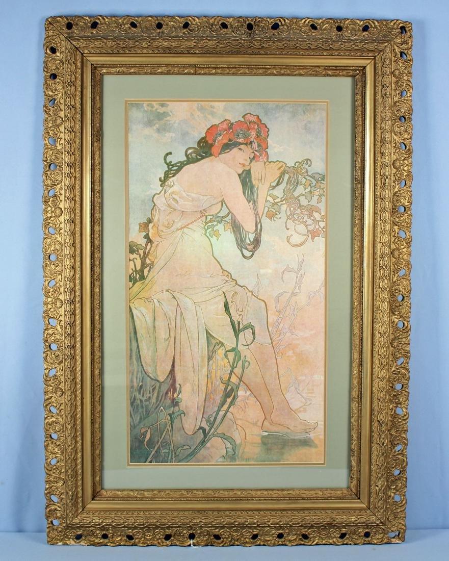 C. 1890 Frame W/ Modern Alphonse Mucha Print