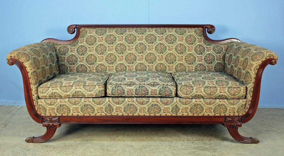 Duncan Phyfe Style Sofa W/ Rose Tapestry Cover