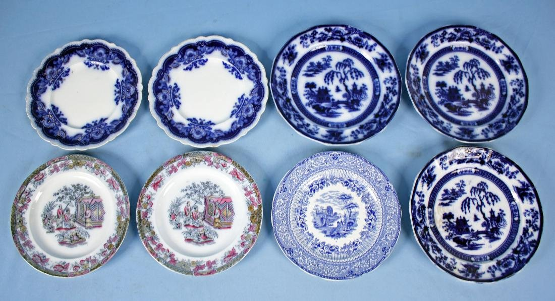 8 Flow Blue English Dinner Plates