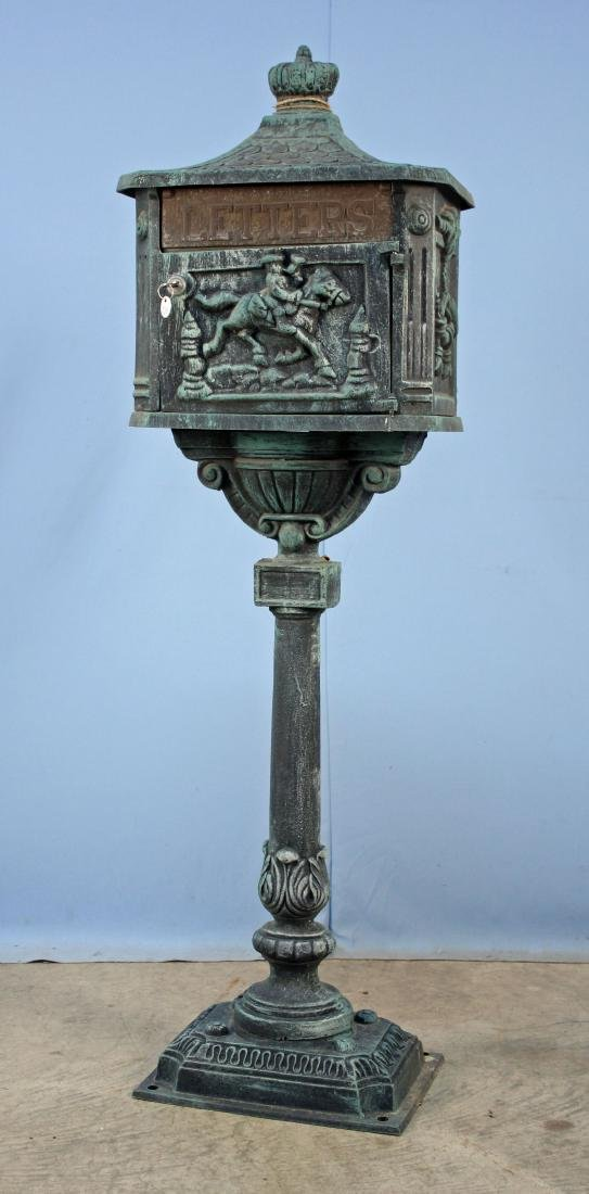Cast Aluminum Mailbox On Stand W/ Key