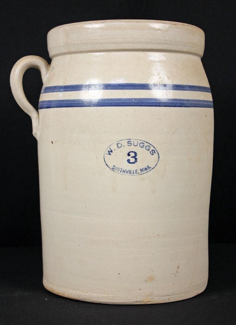 W D Suggs Smithville, MS 3 Gallon Crock W/ Lid
