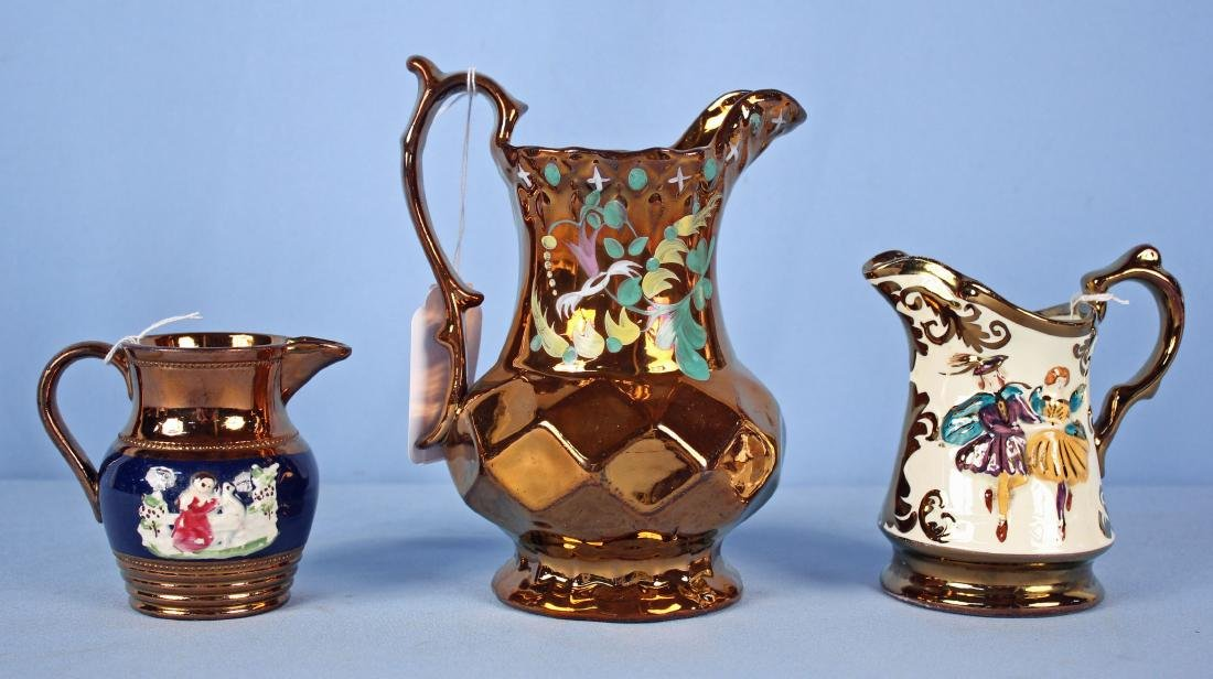 3 Cooper Lusterware Pitchers