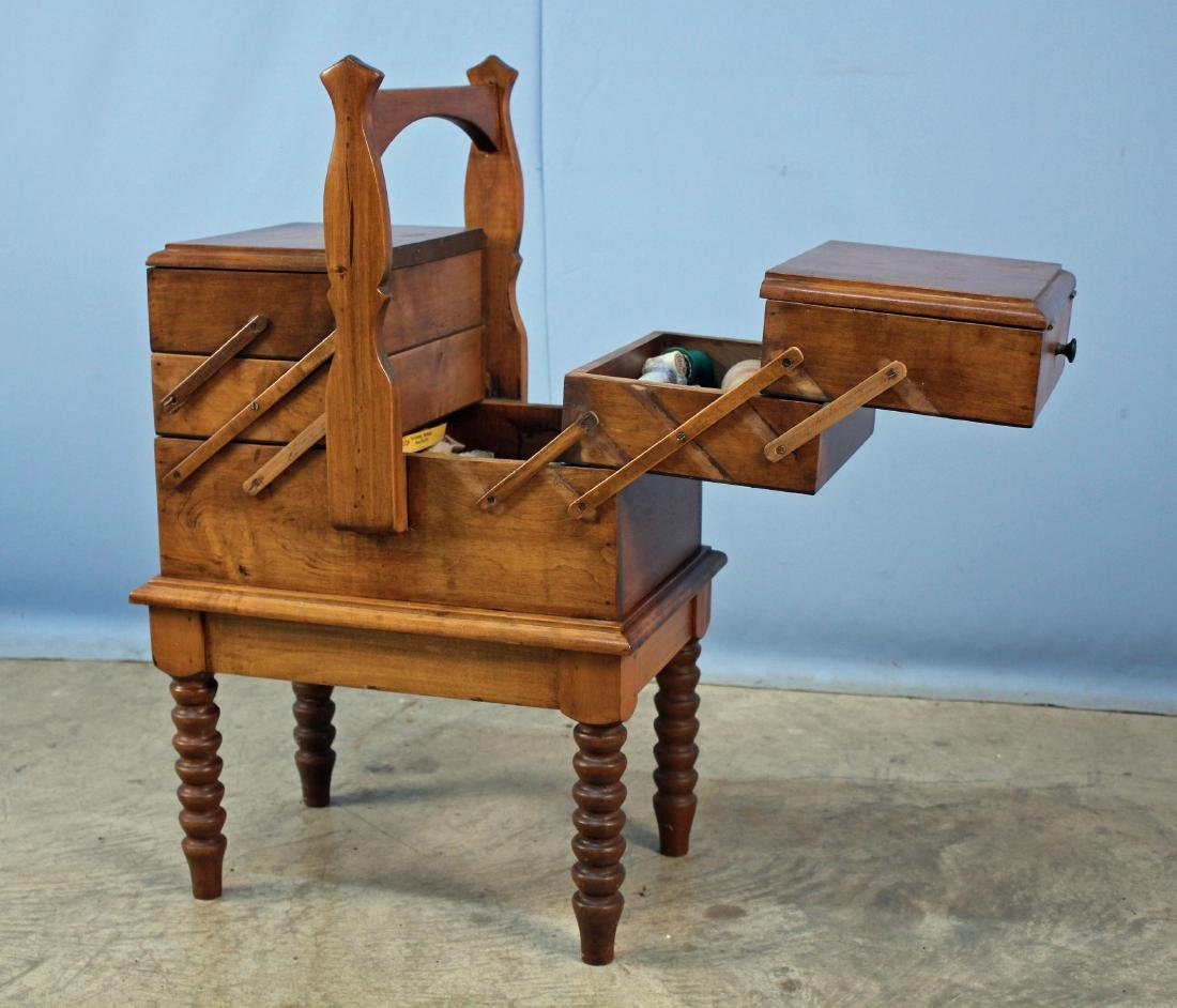 Accordian Sewing Box W/ Handle & Spool Legs