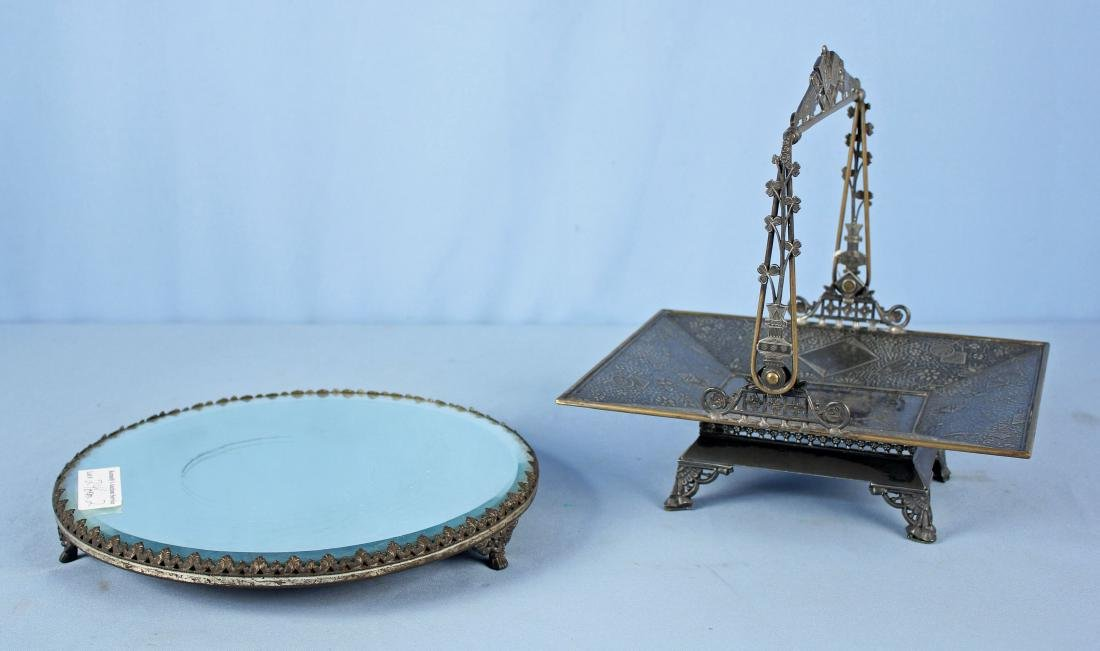 "Silverplate Wedding Basket & 12"" Plateau Mirror"