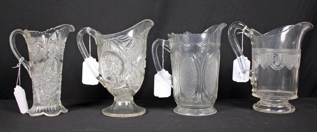 4 Early American Pressed Glass Pitchers