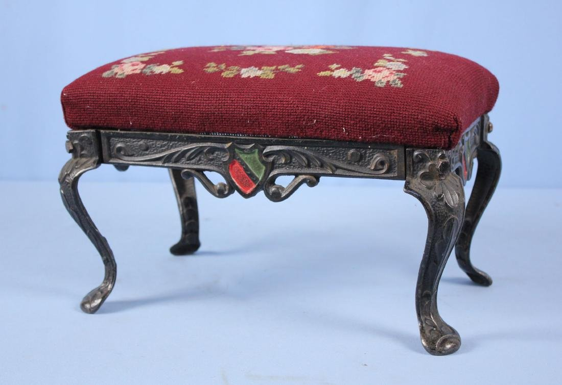 W H Howell Cast Iron Footstool W/ Needlepoint Seat