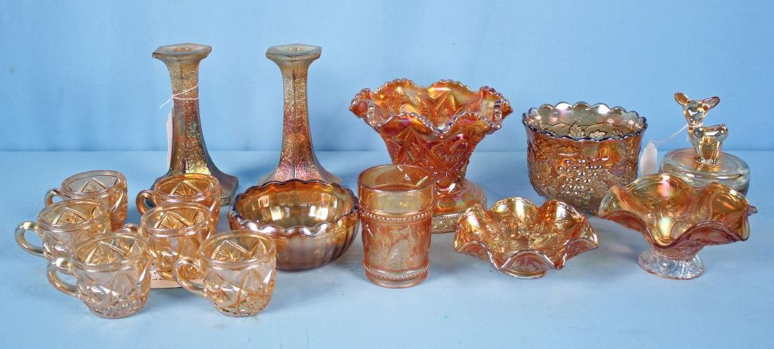 15 Pcs. Marigold Carnival Glass