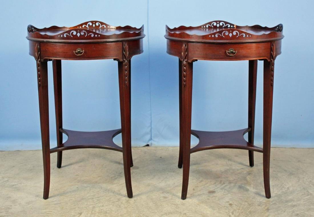 Pair Grand Rapids Mahogany Lamp Table C. 1940