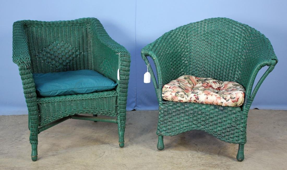 Two Green Wicker Arm Chairs C. 1920