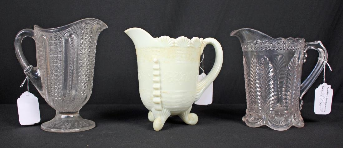 Three Early American Pressed Glass Pitchers
